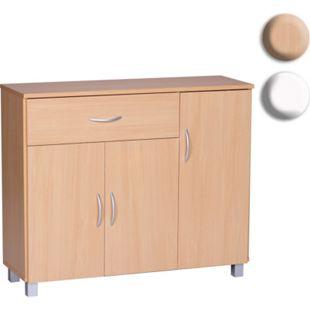 Wohnling Sideboard JARRY mit 1 Schublade & 3 Türen 90x75x30 cm Kommode Anrichte Flur-Schrank mit Griffen