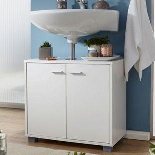 Wohnling Waschbeckenunterschrank WL1.344 Badunterschrank mit 2 Türen Weiß kleiner Schrank Badezimmer - Bild 1