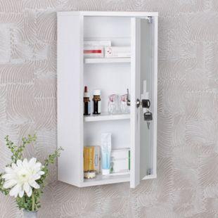 Wohnling Medizinschrank ELLA 26x48x12 cm abschließbar Medikamentenschrank Glastür Erste Hilfe Arznei-Schrank - Bild 1