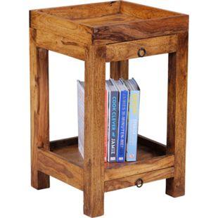 Wohnling Beistelltisch MUMBAI Massivholz Sheesham 65 cm Wohnzimmertisch mit 2 Schubladen Landhausstil Telefontisch - Bild 1