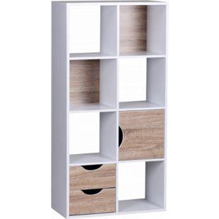 Wohnling Bücherregal 60x120x29 cm Weiß Sonoma Eiche mit Schubladen und Tür - Bild 1