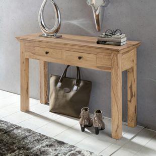 Wohnling Konsolentisch MUMBAI Massivholz Akazie Konsole mit 2 Schubladen Schreibtisch 110 x 40 cm Landhausstil Sideboard - Bild 1
