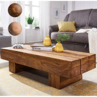 Wohnling Couchtisch SIRA Holztisch 120cm Wohnzimmertisch Echtholz Sheesham Massivholz - Bild 1