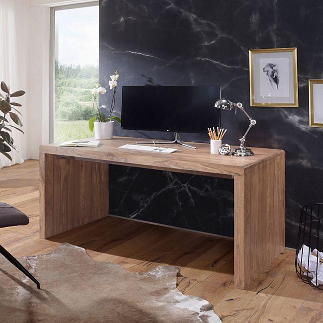 Wohnling Schreibtisch BOHA Massivholz Akazie Computertisch in 3 Größen Echtholz Bürotisch - Bild 1