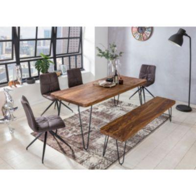 Wohnling Esstisch BAGLI Massivholz Sheesham 160 cm Esszimmer-Tisch Holztisch Metallbeine Küchentisch Landhaus dunkel-bra