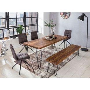 Wohnling Esstisch BAGLI Massivholz Sheesham Esszimmertisch modern Holztisch mit Metallbeinen Hairpin Legs - Bild 1
