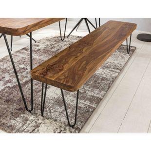 Wohnling Esszimmer Sitzbank BAGLI Massiv-Holz Akazie 120 x 45 x 40 cm Holz-Bank Natur-Produkt Küchenbank im Landhaus-Stil - Bild 1