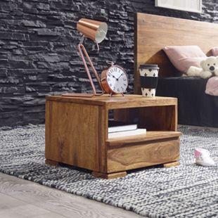 Wohnling Nachttisch MUMBAI Massivholz Nachtkommode 30 cm 1 Schublade Ablage Nachtschrank Landhausstil - Bild 1