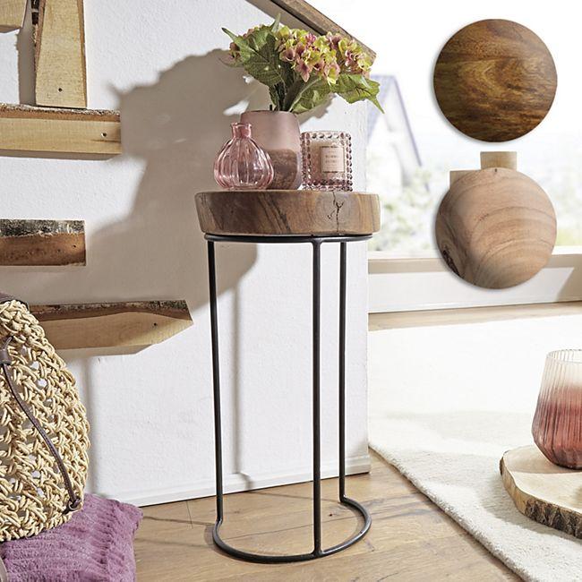 Wohnling Beistelltisch AKOLA Massivholz Wohnzimmertisch Metallbeine Baumstamm Tisch Echtholz - Bild 1