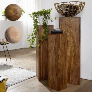 Wohnling Beistelltisch 3er Set Massivholz 24,5x85x24,5 cm Tische Holztisch Natur Beistelltische Dekosäulen - Bild 1