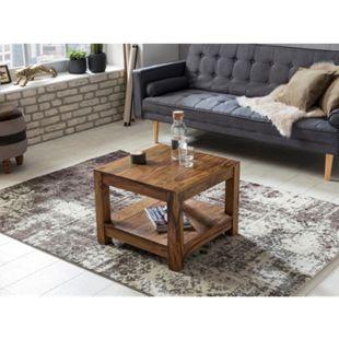 Wohnling Couchtisch MUMBAI Massivholz 60x60x45 cm Wohnzimmertisch braun Landhausstil Beistelltisch Echtholz - Bild 1