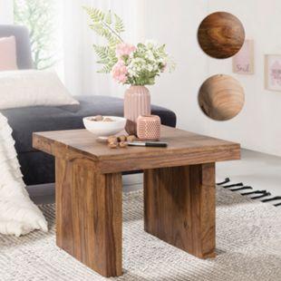 Wohnling Beistelltisch MUMBAI Massivholz 60 x 60 cm Wohnzimmertisch Landhausstil Couchtisch - Bild 1