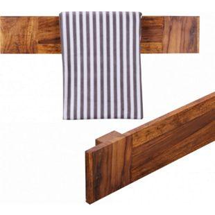 Wohnling Handtuchhalter MUMBAI in 2 Größen Massivholz Sheesham Wandregal Badzubehör Badezimmermöbel - Bild 1
