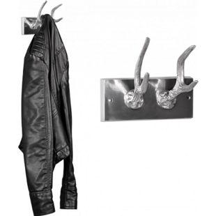 Wohnling Garderobenhaken Hirschhörner aus Aluminium Hörner Farbe Silber - Bild 1