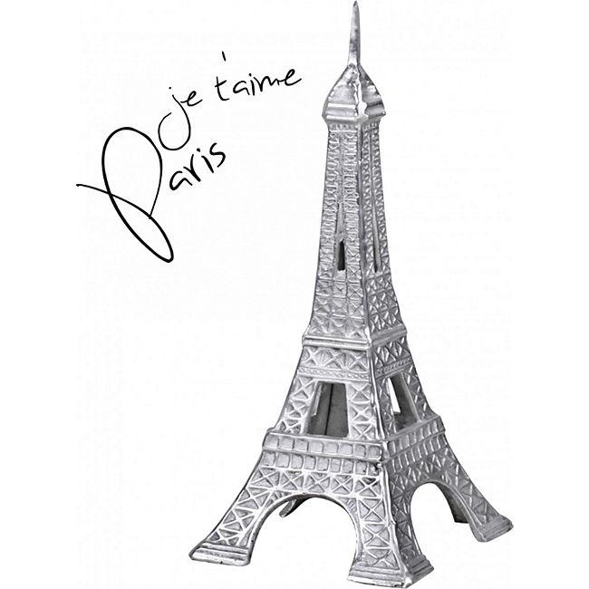 Wohnling Deko 3D Eiffelturm Modell Paris 24 x 53 x 24 cm Geschenk Metall Silbern Dekoration Frankreich Figur - Bild 1