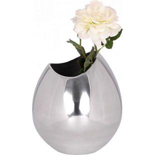 Wohnling Deko Vase groß BOWL Aluminium modern mit 1 Öffnung in Silber Hohe Blumenvase handgefertigt Dekovase - Bild 1