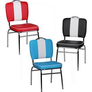 Wohnling Esszimmerstuhl ELVIS American Diner 50er Jahre Retro Stuhl gepolstert mit Rücken-Lehne Küchenstuhl - Bild 1