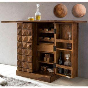 Wohnling Hausbar SIRA Massivholz Weinbar ausklappbar Vitrine Landhaus Barschrank Aufbewahrung Flaschen Gläser - Bild 1