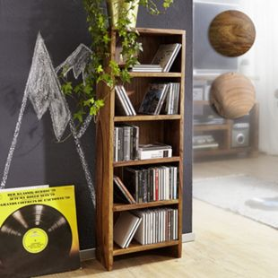 Wohnling CD Regal MUMBAI Massivholz Standregal 90 cm hoch CD Aufbewahrung 5 Fächer Bücherregal Landhausstil - Bild 1