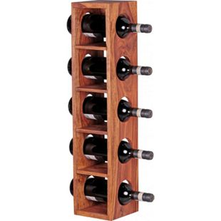 Wohnling Weinregal MUMBAI Massivholz Flaschenregal Wandmontage für 5 Flaschen modern mit Ablage 70 cm - Bild 1