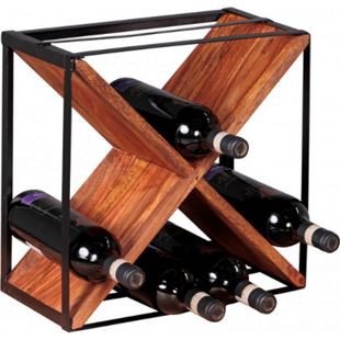 Wohnling Weinregal AKOLA Massivholz Flaschenregal Standregal für ca. 16 Flaschen Holzregal X-Form freistehend - Bild 1