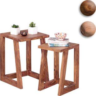 Wohnling 2er Set MUMBAI Beistelltisch Massivholz Wohnzimmertisch Nachttisch Satztisch Landhausstil - Bild 1