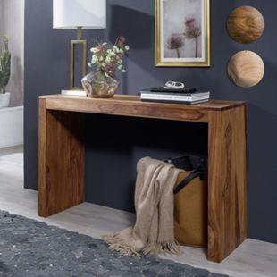 Wohnling Konsolentisch MUMBAI Massivholz Konsole Schreibtisch 115 x 40 cm Landhausstil Arbeitstisch Naturholz - Bild 1
