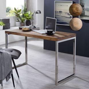 Wohnling Schreibtisch GUNA Massivholz Computertisch 120 x 60 cm Landhaus Konsolentisch Metallbeinen - Bild 1