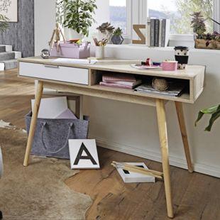 Wohnling Schreibtisch SAMO Computertisch mit Schublade Sonoma Weiß Tisch mit Fächer Bürotisch Ablage 120 cm - Bild 1