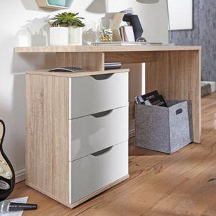 Wohnling Schreibtisch SAMO 120 x 76 x 53 cm 3 Schubladen Sonoma Weiß Computertisch platzsparend - Bild 1