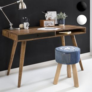 Wohnling Schreibtisch REPA 120 x 60 x 75 cm Massiv Holz Laptoptisch Sheesham Landhaus Arbeitstisch Bürotisch - Bild 1