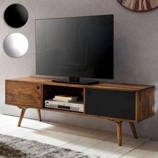 Wohnling TV Lowboard REPA 140 cm Massiv Holz Sheesham Landhaus 2 Türen & Fach HiFi Regal Kommode Vintage - Bild 1