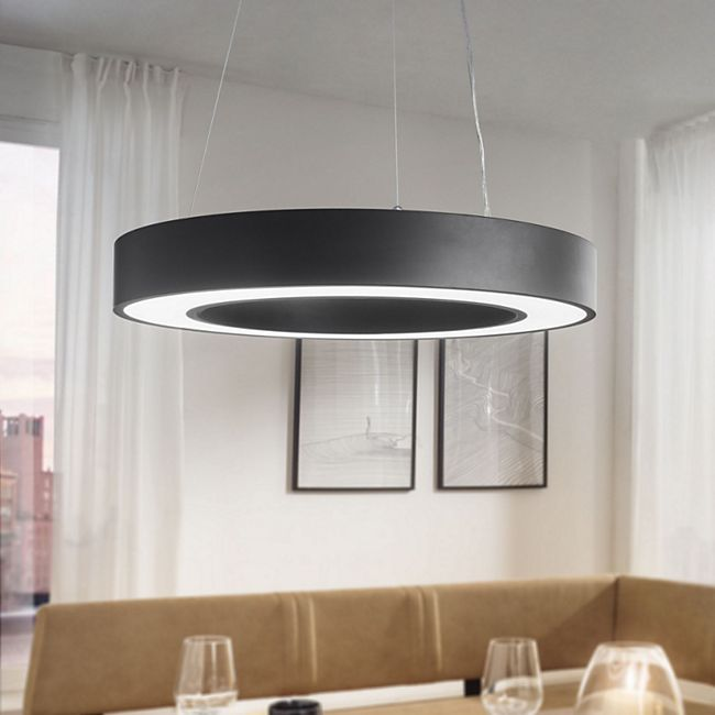 Wohnling LED-Deckenleuchte CIRCLE matt EEK A+ 48 Watt Ø 60 cm Hängelampe 4080 Lumen kaltweiß Pendellampe IP20 - Bild 1