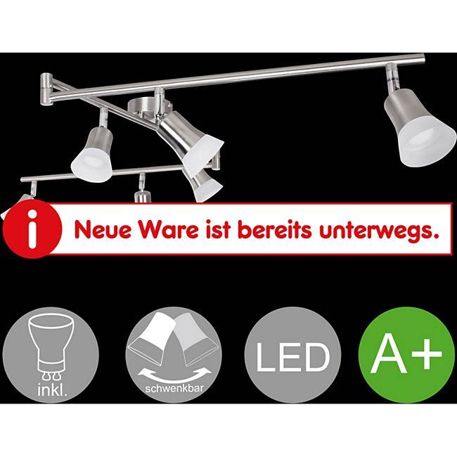 Wohnling LED Spot 6 flammig CLARA Deckenstrahler Lampe Dimmbar A+ Warmweiß drehbar Deckenleuchte Silber IP20 - Bild 1