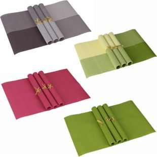Wohnling 4er Set Platzdeckchen rutschfest 30 x 45 cm abwischbar PVC Platzmatten Platzset Tischset - Bild 1