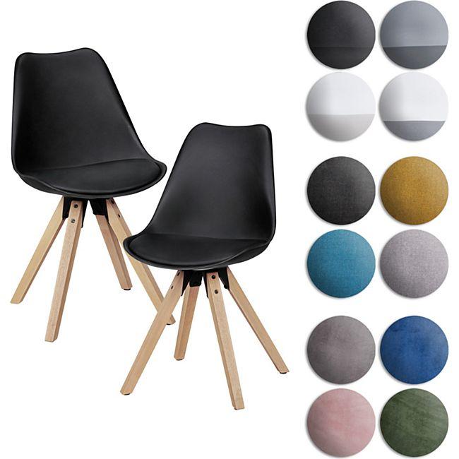 Wohnling 2er Set Esszimmerstuhl LIMA Polsterstuhl Stoff oder Kunstleder-Bezug Rückenlehne Design Küchenstuhl - Bild 1