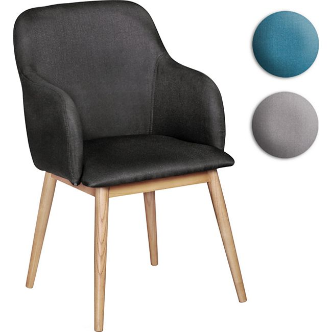 Wohnling Retro Esszimmerstuhl LIMA Anthrazit Polsterstuhl Stoff Rückenlehne Design Küchenstuhl mit Armlehnen - Bild 1