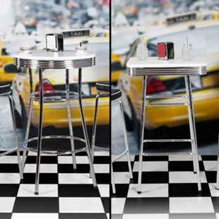 Wohnling Bartisch ELVIS American Diner MDF & Alu Stehtisch Design Partytisch Retro USA Bistrotisch - Bild 1