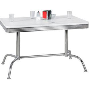 Wohnling Esstisch ELVIS 120 cm American Diner MDF Holz & Alu Esszimmertisch Küchentisch Retro USA Bistrotisch - Bild 1