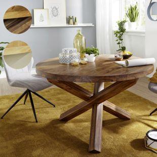 Wohnling Esszimmertisch BOHA Ø 120 cm x 75 cm Massivholz Landhaus Esstisch 4 Personen Küchentisch Tisch - Bild 1