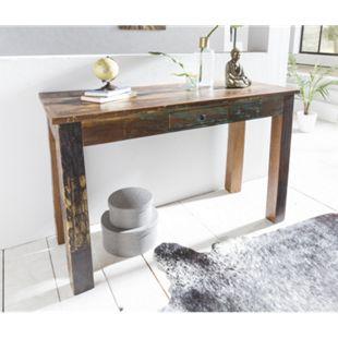 Wohnling Konsolentisch KALKUTTA 120 x 50 x 84 cm Massivholz Schreibtisch Schlafzimmer Wohnzimmer Konsole - Bild 1