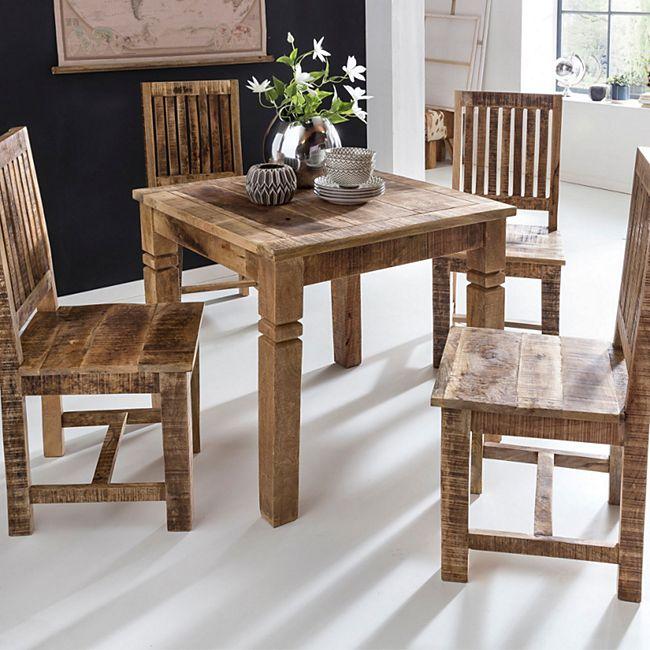 Wohnling Esszimmertisch WL5.077 Braun 80 x 80 x 76 cm Mango Massivholz |  Design Landhaus Esstisch Massiv | Tisch für Esszimmer Quadratisch | ...
