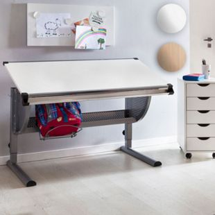 Wohnling Design Kinderschreibtisch MAXI Holz 120 x 60 cm | Schülerschreibtisch neigungs-verstellbar | Schreibtisch Kinder höhenverstellbar - Bild 1