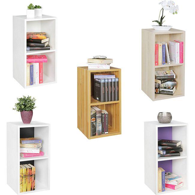 Wohnling Standregal 30x60x30 cm in 5 Ausführungen Regal Kleines Bücherregal 2 Ablagefächer Schmales Nischenregal - Bild 1