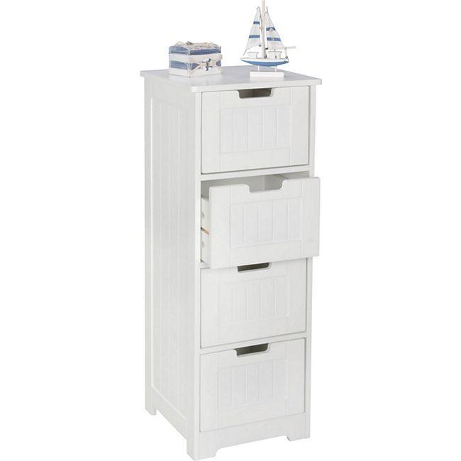 Badezimmerschrank Netto: Wohnling Design Badschrank LUIS Landhaus-Stil MDF-Holz 30