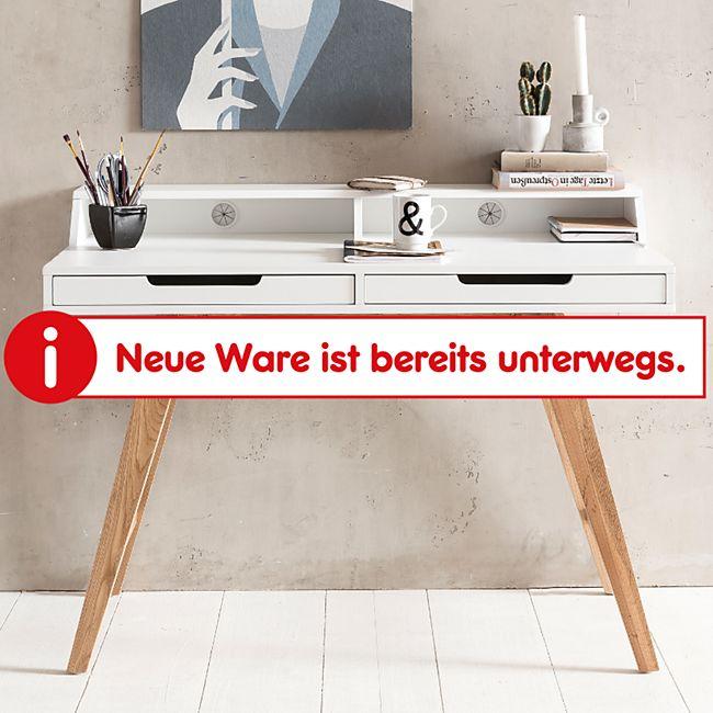 Wohnling Schreibtisch SKANDI 110x85x60 cm MDF-Holz Bürotisch skandinavisch mit Kabeldurchlass weiß matt - Bild 1
