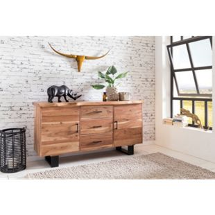 Wohnling Sideboard GAYA 160x84x46 cm Massivholz Akazie Baumkante Anrichte Kommode mit Schubladen & Türen - Bild 1