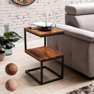 Wohnling Beistelltisch AKOLA S-Form Massivholz 45 x 60 x 30 cm kleiner Wohnzimmertisch mit 2 Ablagen - Bild 1