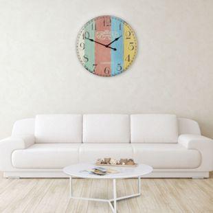 Wohnling Deko Vintage Wanduhr XXL Ø 60 cm London Stripes Holz bunt Große Uhr Dekouhr Küchenuhr - Bild 1
