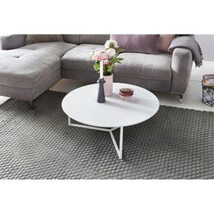 Wohnling Design Couchtisch MDF Holz weiß matt Gestell Metall ø 80 cm Wohnzimmertisch modern Sofatisch rund - Bild 1